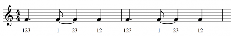 "musical score of rhythm from ""All of Me"""