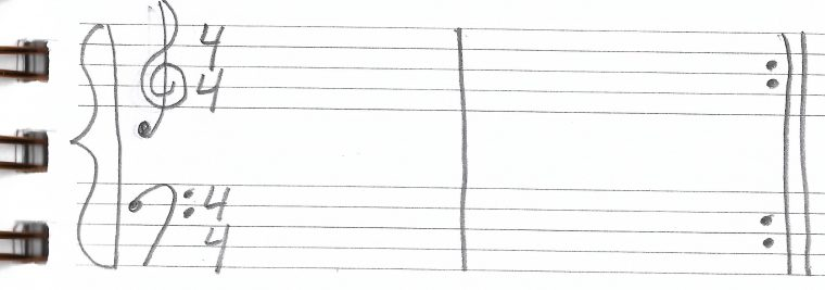 2 measures 4/4 with repeat sign